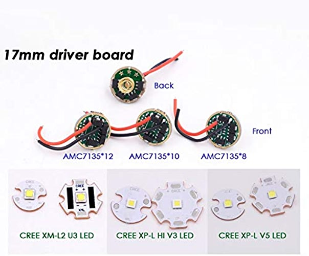 Amc7135X 105Mode, 20mm CREE Xpl Hi V3  16mm 20mm CREE XM-L2U3 Xp-l V5 HI V3LED étoile 1A Blanc froid Base en cuivre + 17mm Amc7135X 12lampe de poche pilote Circuit Board