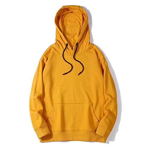 Vrouwen hoodies pullover damesmode Solid Color lange mouwen casual blouse met capuchon kant hoodie sweatshirts herfst winter, geel, XS