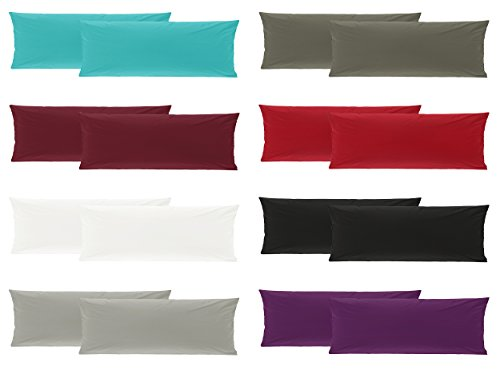 Doppelpack Baumwolle Renforcé Kissenbezug, Kissenbezüge, Kissenhüllen für Seitenschläferkissen 40x145 cm in 8 modernen Farben Bordeaux