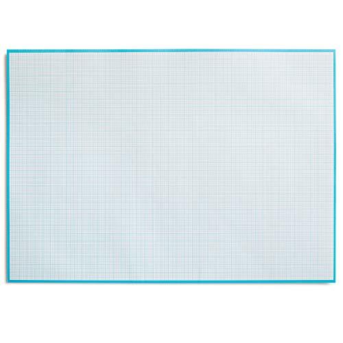 Millimeterpapier-Block zum Beschreiben und skizzieren I zum Abreißen I Mathematisches Papier mit Linienstruktur I für Büro und Schule I DIN A2 I groß I blau I RRD Offset 90 g/m² 40 Blatt I dv_780