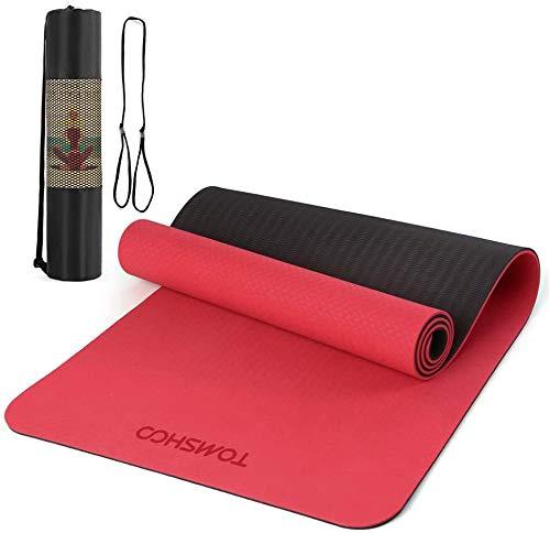 TOMSHOO Tapis de Yoga Fitness 183 * 61cm 8mm Épais, TPE Antidérapant et Durable, Tapis de Gym Sport pour Yoga Fitness Pilates Gymnastique avec Sac de Rangement (Rouge)