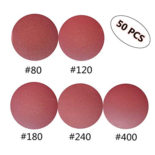 6-Inch NO-Hole PSA Aluminum Oxide Sanding Disc, Self Stick(10 Each of 80 120 180 240 400 Grits), 50 PCS
