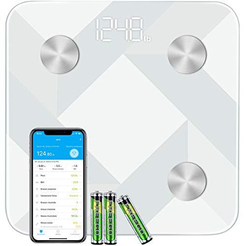 Bilancia Pesa Persona Digitale di Grande Dimensione, Mpow Bilancia Pesapersone Impedenziometrica Diagnostica Bluetooth Wireless Digitale Misura con 13 Indici Peso,Grasso, BMI, App per IOS e Andriod