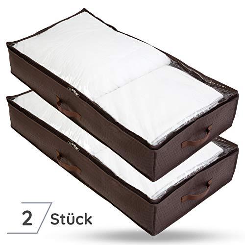 Bruce. ® 2 x Premium Unterbettkommoden   90 Liter - 100 x 50 x 18 cm   Atmungsaktiv und Mottenfrei   Platzsparende Unterbett Aufbewahrungstasche für Bettdecken, Bettwäsche und Kissen