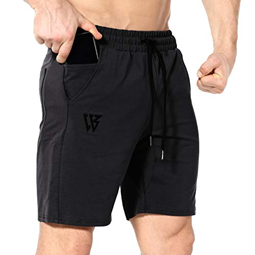 ZENWILL Mens Gym Running Shorts, Workout Athletic Bodybuilding Fitness Shorts with Zip Pockets (X-Large,Black)