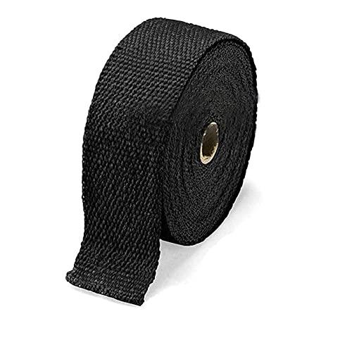 ZLLWLF 5M Rollo de Fibra de Vidrio de Fibra de Vidrio Escudo de Escape de la Motocicleta Tubería de Escape de Calor PROTECCIÓN térmica + 4 Corbatas Kit de Escape Insulat (Color : Black)