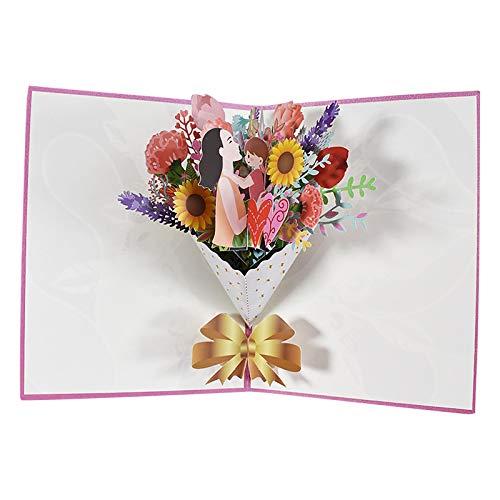 Alvinm Pop Up Karte Blume,Muttertagskarte,Pop-Up 3D Grußkarte Hochwertige PopUp 3D Geburtstagskarte Grußkarten Blumen Klappkarte Geburtstagskarte, Muttertagskarte, Danke, Viel Glück