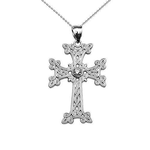 Damen Anhänger Halskette 925 Sterling Silber Armenisch Kreuz Solitär Zirkonia (Kommt mit einem 45cm Kette)