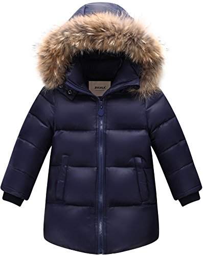 ZOEREA Daunenjacke Kinder Winterjacke mit Fellkapuze Jungen Mädchen Wintermantel Warme Verdickte Daunenmante Winter Kleidung(Dunkelblau, Etikett 100)