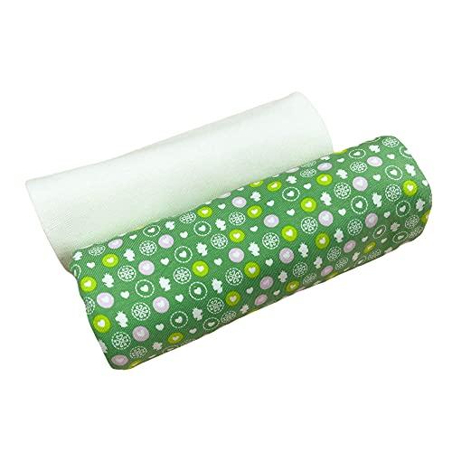 Kleines Stoffpaket - 0,5m Baumwoll-Jersey Stoff + 0,5m Bündchen Nele - zum Nähen von Kinderbekleidung - Kinderstoff - Muster-Mix (kleine Prinzessin grün + Bündchen Ecru)