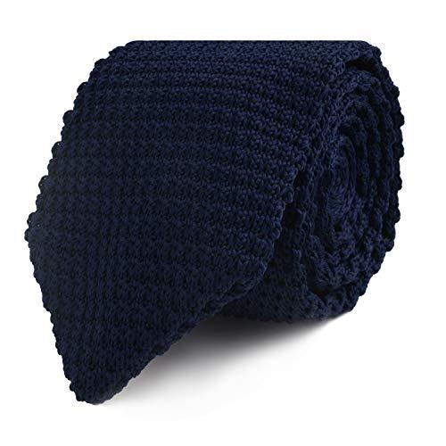 Cravatta sottile di maglia blu scuro | 5 anni di garanzia | Regali per uomini | Accessori per testimoni di nozze | Cravatte per matrimonio
