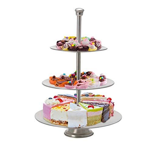 Oramics Présentoir à gâteaux en Acier Inoxydable brossé, Acier Inoxydable, argenté, 3-Stöckig