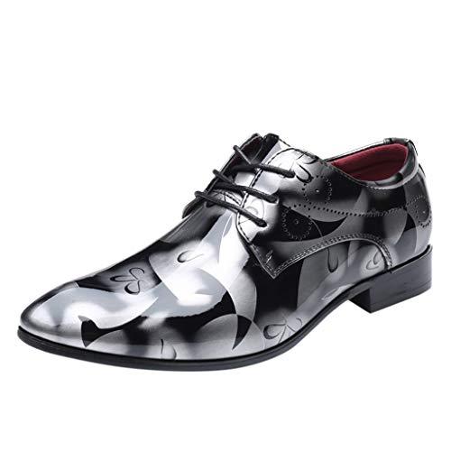 FNKDOR Schuhe Herren Spitz Geschäft Freizeit Lederschuhe Britischer Stil Elegant Anzugschuhe Berufsschuhe Glänzend Bunt Schnürsenkel Business-Schuhe Grau 44 EU