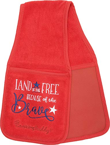 Campanelli's Cooking Buddy Pot Holder - Professional Grade All-In-One Non-Slip Silicone Potholder, Hand Towel, Lid Grip, and Trivet - Heat Resistant up to 500ºF - As Seen On QVC (Patriotic)