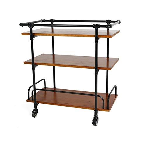 SGSG Vitrina Soporte para Verduras Carrito de Utilidad Muebles industriales Estantes de Utilidad Carrito de té con botellero y Gancho, 2 Estilos