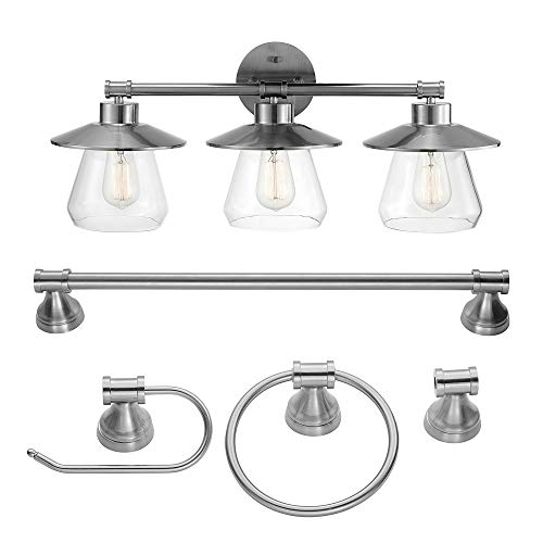 Globe Electric 51495 Nate 5-Piece All-in-One Bathroom Set, Brushed Steel, 3 Vanity Light with Clear Glass Shades, Bar, Towel Ring, Robe Hook, Toilet Paper Holder