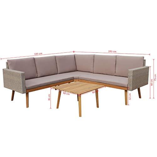 mewmewcat 13-TLG. Polyrattan Lounge Set Loungemöbel Loungeset Loungegruppe Grau - 7