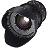 Samyang F1312801101 - Objetivo para vídeo VDSLR para Canon EF (Distancia Focal Fija 24mm, Apertura T1.5-22 ED AS IF UMC II, diámetro Filtro: 77mm), Negro