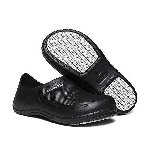 FULORIS Chef Shoes for Women Black Nurse Shoes, Waterproof Platform Clogs for Women, Slip Resistant Work Chef Shoe of Women Hospital Garden Kitchen Black (7)