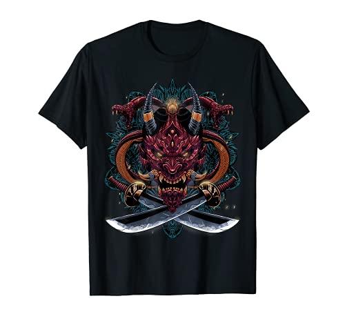 Oni Demonio Diablo Máscara Hannya Japonesa Camiseta