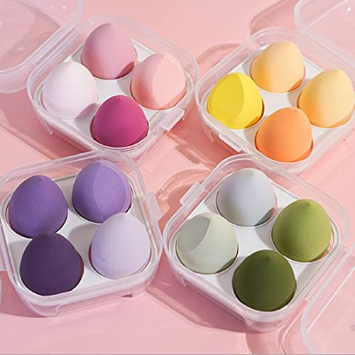 Harmonious Juego de 4 esponjas de maquillaje multicolores, para mojado y seco, con forma de huevo (cuatro juegos)