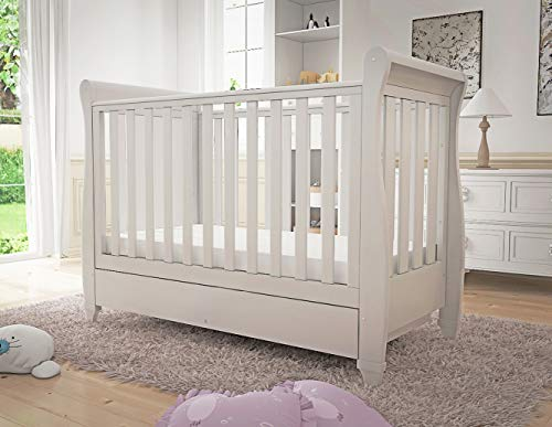 Babymore Eva Sleigh Cot Bed Drop Side with Drawer | Solid Pine Wood | Converts into Day Bed, Toddler Bed | Teething Rail (White)