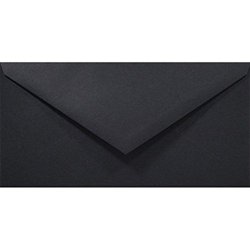 50 Stück Schwarz DIN Lang Briefumschläge, 110x220mm, Rainbow 80g, Spitzklappe, ohne Fenster, ideal für Hochzeit, Weihnachten, Grußkarten und Einladungen