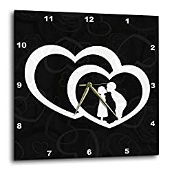 3dRose Intertwined Hearts with A Boy and Girl Kissing and Black Damask - Wall Clock, 10 by 10-Inch (DPP_173246_1)