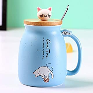 Best Quality - New sesame cat heat-resistant cup color cartoon with lid cup kitten milk coffee ceramic mug children cup office gifts (Sky Blue)