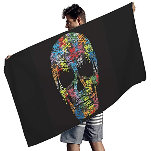 Perstonnoli Toalla de playa con diseño de calavera, de microfibra, secado rápido, toalla de playa, toalla de playa, esterilla de yoga, toalla de pared, rectangular, color blanco, 150 x 75 cm