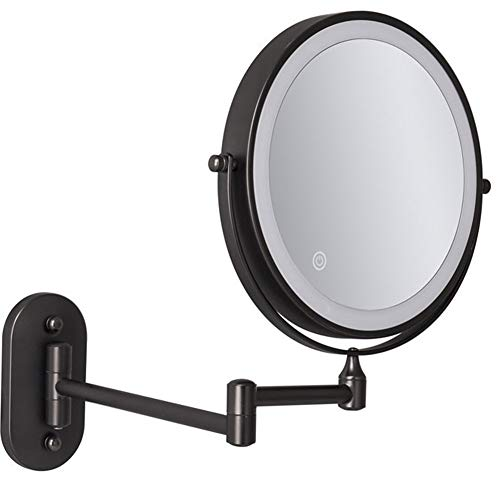Miroir Grossissant Lumineux Mural x10, 8 Pouces LED Miroirs de Maquillage avec 0.5h Fonction d'arrêt Automatique, 360°Pivotant, Extensible, Alimenté par 4 Piles AAA(Non Inclus) Black