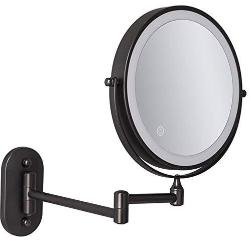 MRJ Specchio Ingranditore da Parete con Luce LED, Specchietto da Trucco Ingrandimento X10 Luminosità Regolabile, Ruota di 360°, 8 PolliciBlack