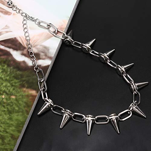 TBoxBo 2 collares con remaches punk, estilo gtico, para motorista, cadena de eslabones, joyera con punta de bala y naranja punk collar para hombre y mujer (plata).
