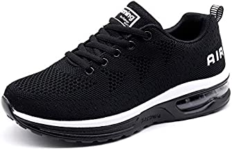 Women's Running Shoes Lightweight Athletic Breathable Sport Air Cushion Fitness Gym Jogging Sneakers Black Size 8