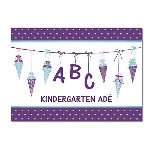 Kreatives Herz - ABC Einladungskarten zur Einschulung (15er Set - A6) für Mädchen Einladungen Schulanfang Kinder Party 1. Schultag Schultüte Zuckertüte LILA (15 Karten mit weißen Umschlägen)