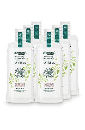 alkmene Teebaumöl Mundspülung mit 6-fach Schutz - Schützt vor Karies, Zuckersäuren, Zahnstein - Mundwasser ohne Alkohol, Silikone, Parabene & Mineralöl - Zahnspülung im 6er Pack (6x 500 ml)