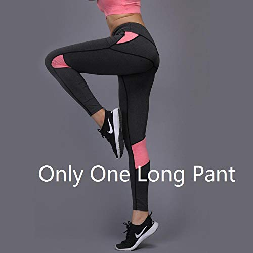 ANBF BI Womens Sport Yoga Set Kleding Gym Fitness Hardlopen Shirt Tennis Yoga of een joggingbroek beenwarmers Workout Sport (Kleur: Roze Only Lange broek, Maat: S)