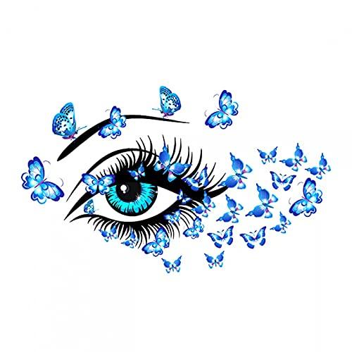 Pegatinas de pared con Mural de mariposa y belleza de ojos azules, calcomanías de vinilo artísticas para decoración del hogar Diy, dormitorio, sala de estar