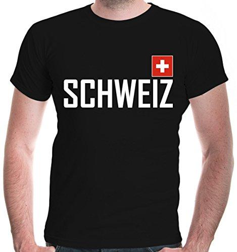 buXsbaum® Herren T-Shirt Schweiz | Suisse Switzerland Svizzera Swiss Europa | Flagge Ländershirt Fanshirt | M, Schwarz