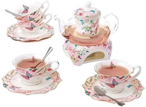 Lifattitude Kaffeekanne, Teekanne und Untertasse aus feinem Porzellan, mit Stövchen und Tee-Ei, Schmetterling-Design, Tee für 2 Personen
