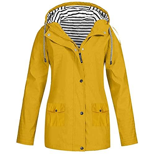 Pianshanzi Chubasquero para mujer, impermeable, transpirable, con capucha, plegable, larga, abrigos para mujer, tallas grandes, ligera, para ciclismo, senderismo, ciclismo, amarillo, L