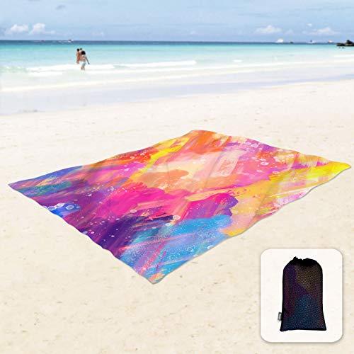 Sunlit Manta de playa suave y sedosa a prueba de arena, con bolsillos en las esquinas, bolsa de malla de 213x185 cm, fiesta en la playa, viajes, camping al aire libre, pintura al óleo colorida