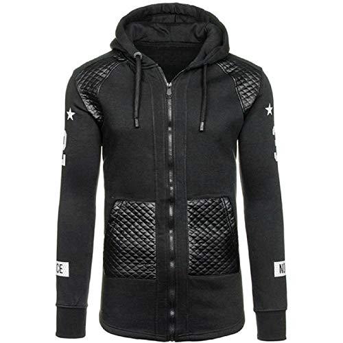 MAYOGO Herren Sweatjacke Zip Baumwolle Leder Jacke Sportjacke Kapuzenjacke Kapuzenpullover Casual Basic Trainingsjacke Sweatshirt