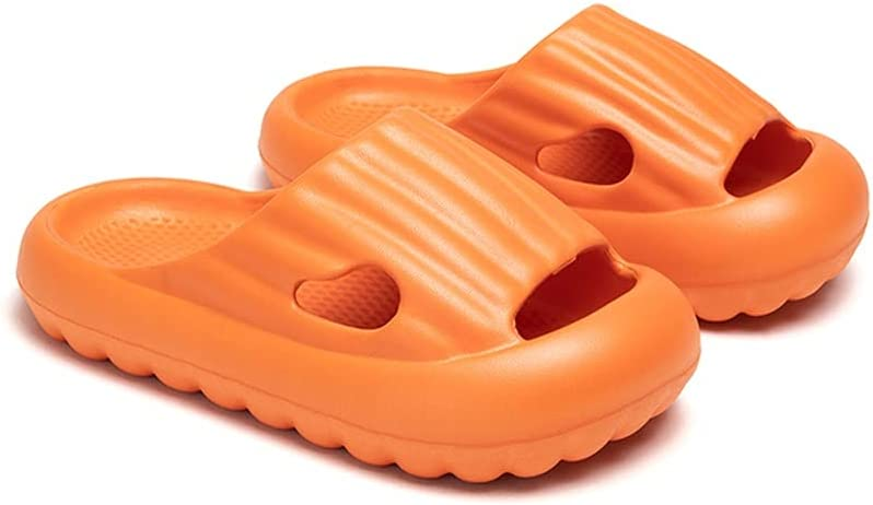 YXCKG Shower Slippers, Summer Boys and Girls Slippers for Kids, Children's Hole Shoes, Home Non-Slip Slippers, Cute Unisex Summer Toddler Slipper, Lightweight Shoe (Color : Orange, Size : Length 21)