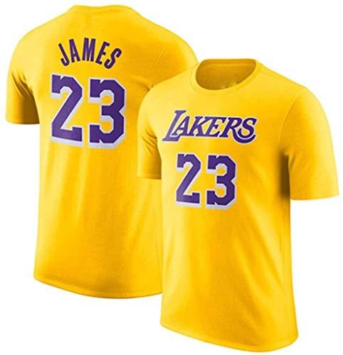 ZSPSHOP Camiseta de manga corta con diseño de estrella de baloncesto Lakers James No.23 de algodón para hombre de media manga (color: amarillo, tamaño: XXL)
