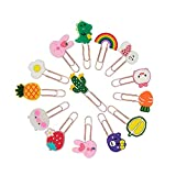 Funny live Creative Lovely Animal Plant Cartoon Silicone Paper Clips, 'Rabbit', 'Dinosaur', 'Dog', 'Bear', 'Strawberry', 'Carrot', 'Durian' Bookmark Memo Clip, 2.4 inch, 14 Pieces