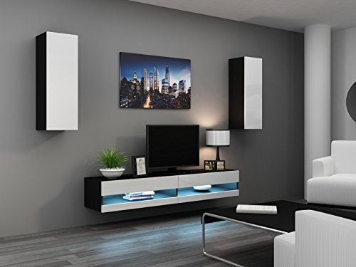 Wohnwand ' Vigo New I ' Hochglanz Hängeschrank Lowboard, Farbe:schwarz matt / weiß Hochglanz