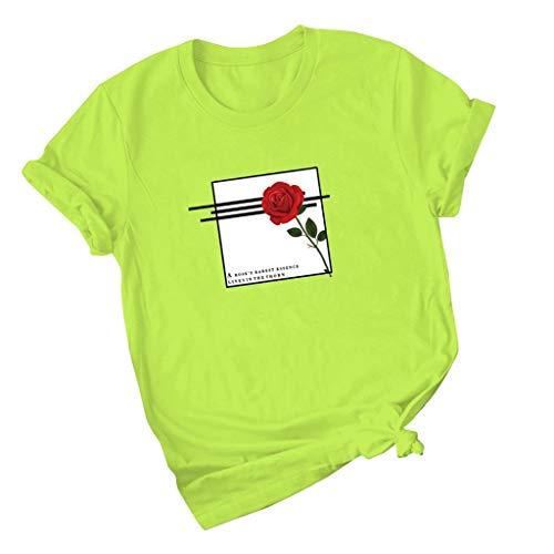 Luckycat Mujeres Manga Corta Camisetas Verano Algodón Carta Impresión Rosa T Shirt Blusas Camisas Tops Personalidad Regalo de San Valentín