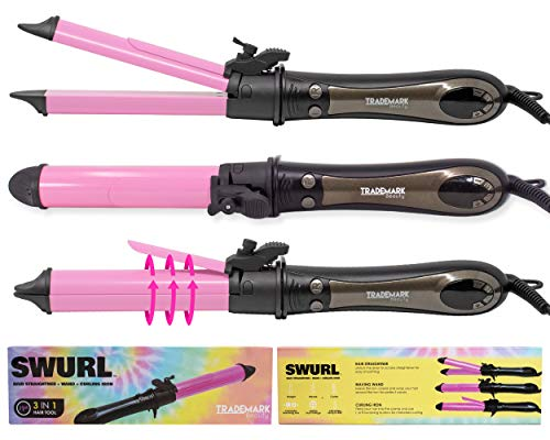 SWURL 3 in 1 Curling Iron Waving Wand & Flat Iron | 1.15 Inch Barrel Hair Curler & Hair Straightener | Trademark Beauty Dual Voltage Hair Curling Straightening Iron