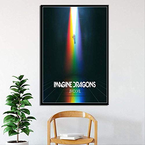 ysldtty Stampa su Tela Imagine Dragons Hot Album Cover Evolve Origins Music Group Art Silk Poster Wall Home DecorIW224R Senza Cornice 40cmx60cm